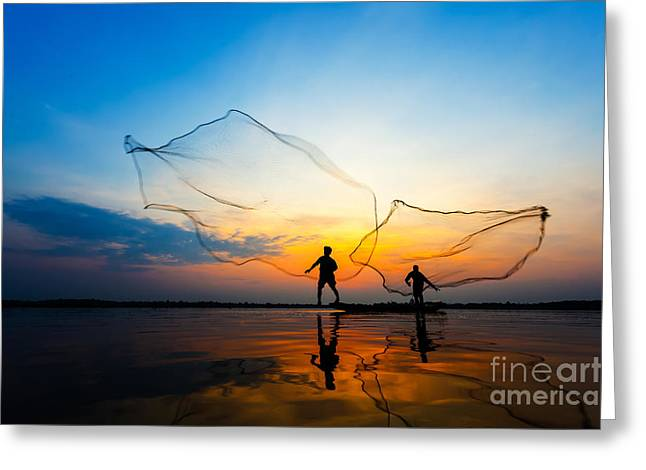 Fishermans In Action When Fishing At Greeting Card