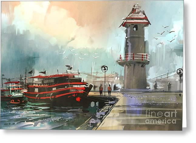 Fishing Boat In Harbor,digital Greeting Card