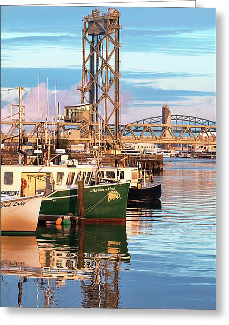 Fishing Boats And Bridges Greeting Card by Eric Gendron