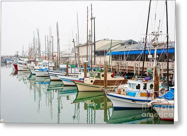 Fishing Boats At Fishermans Wharf In Greeting Card