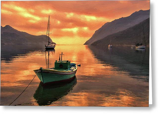 Fishing Boats At Sunset Simi Greek Islands-dwp40406001 Greeting Card
