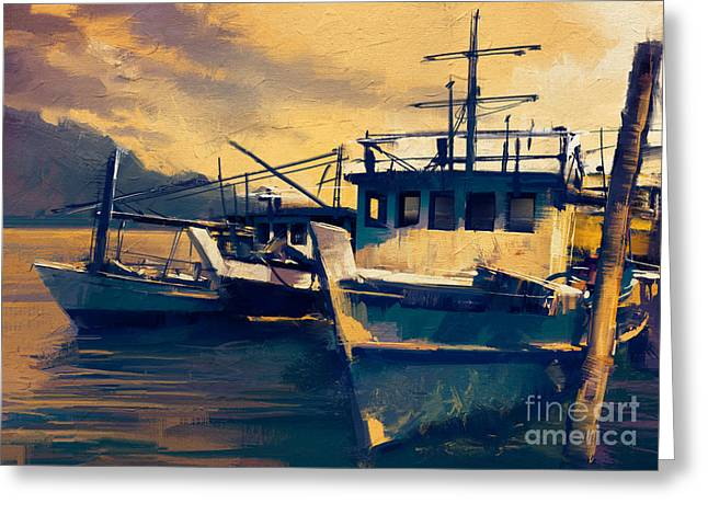 Fishing Boats In Harbor At Evening,old Greeting Card