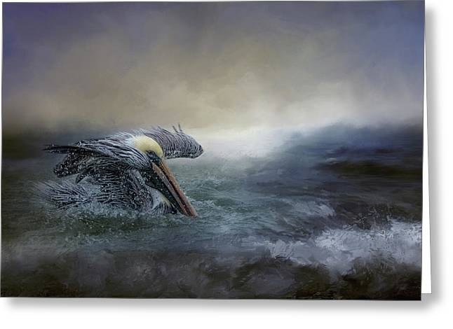 Fishing In The Storm Greeting Card