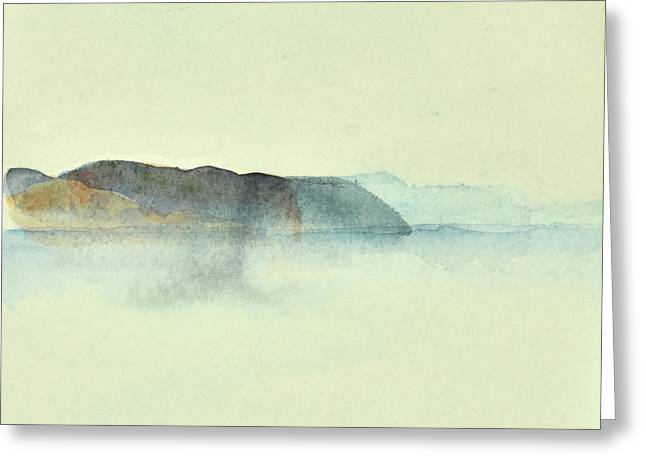 Fiske I Morgondis Hunnebo Vaestkusten   Fishing In Morning Haze Hunnebo Swedish Archipelago 76x73cm  Greeting Card
