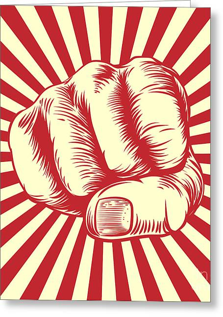 Fist Punching In A Vintage Propaganda Greeting Card