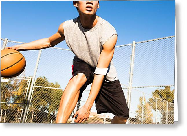 Fit Male Playing Basketball Outdoor Greeting Card