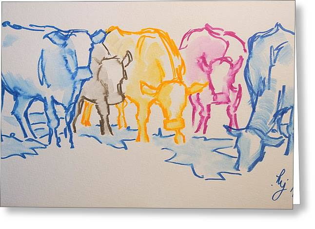 Five Cows Five Colors Watercolor Line Drawing Greeting Card
