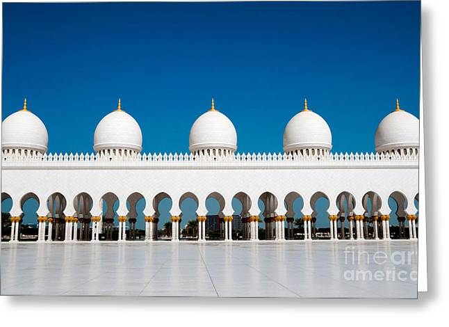 Five Domes Of Sheikh Zayed Mosque In Greeting Card