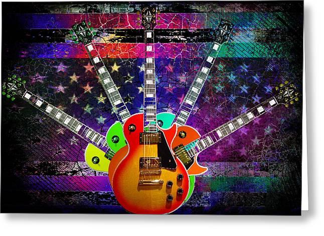 Five Guitars Greeting Card