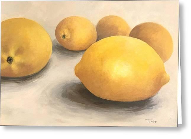 Five Lemons  Greeting Card