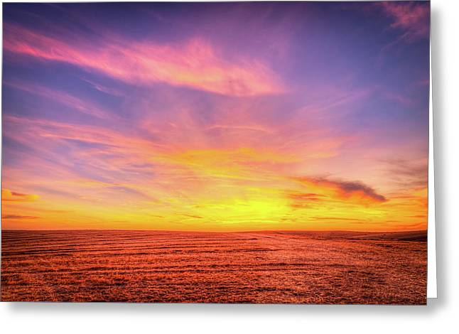 Five Mile Road Sunset Greeting Card