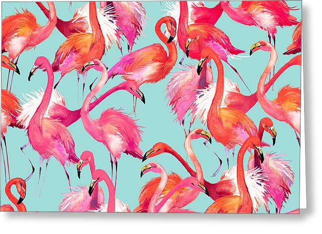 Flamingo Birds Seamless Background Greeting Card