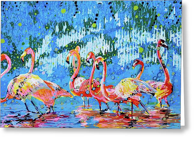 Flamingo Pat Party Greeting Card