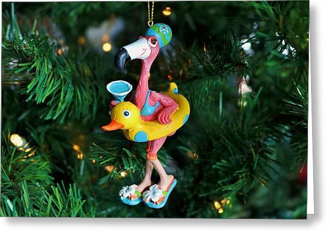 Flamingo Swimmer Greeting Card