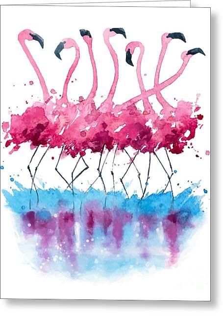 Flamingos Watercolor Painting Greeting Card