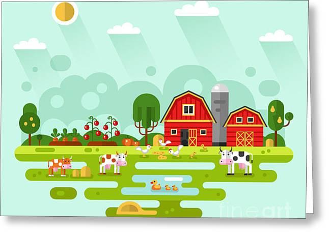 Flat Design Vector Rural Landscape Greeting Card