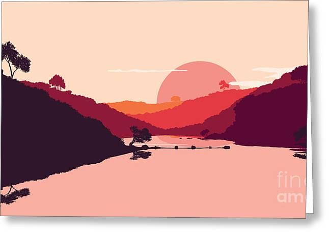 Flat Landscape Of Mountain, Lake And Greeting Card