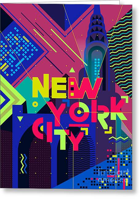 Flat Typography Poster. New York City Greeting Card