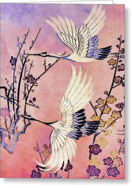 Flight Of The Cranes - Kimono Series Greeting Card