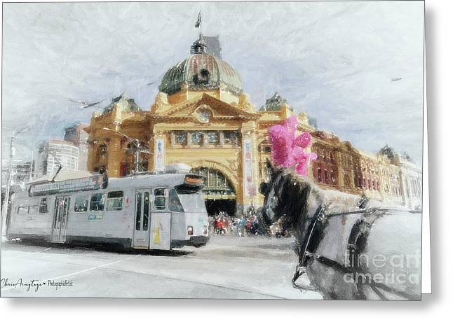 Greeting Card featuring the painting Flinders Street Station, Melbourne by Chris Armytage