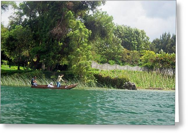 Floating Down The Lake In Guatemala Greeting Card