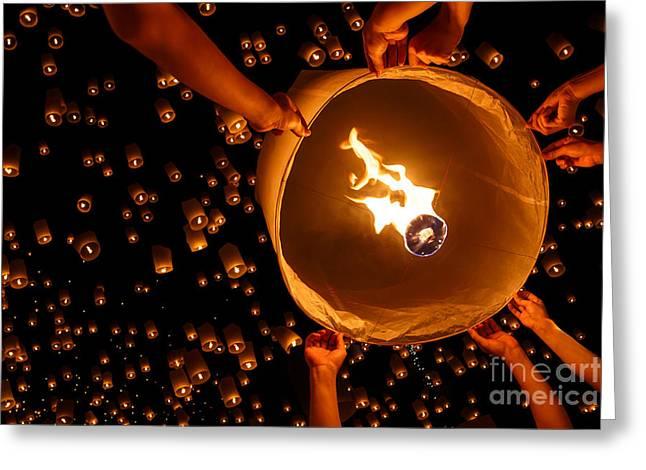 Floating Lantern, Yi Peng,firework Greeting Card