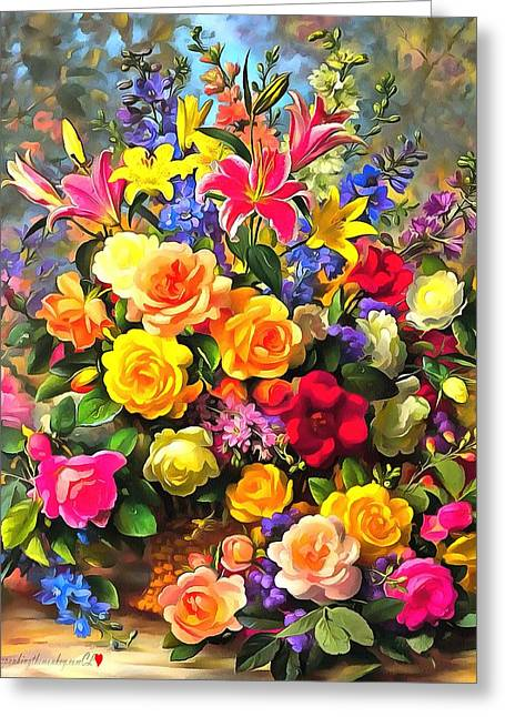 Floral Bouquet In Acrylic Greeting Card