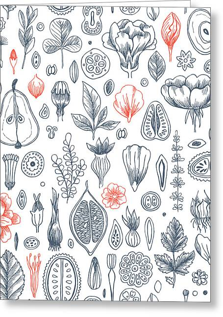 Floral Elements Background. Linear Greeting Card