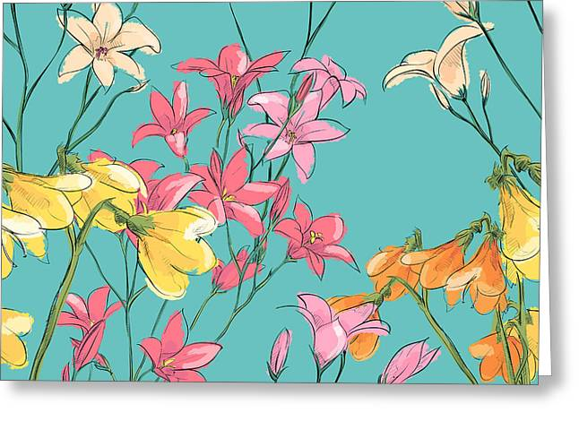 Floral Seamless Pattern. Sketch Style Greeting Card