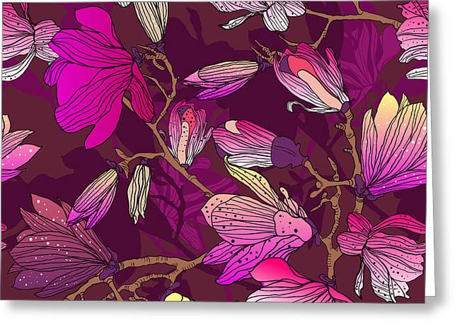 Floral Seamless Pattern With Drawing Greeting Card