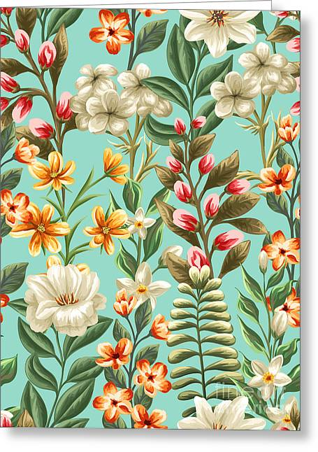 Floral Seamless Pattern With Flowers Greeting Card