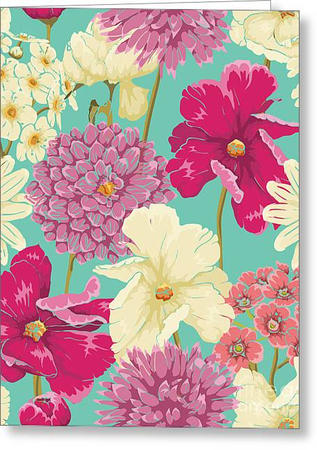 Floral Seamless Pattern With Flowers In Greeting Card