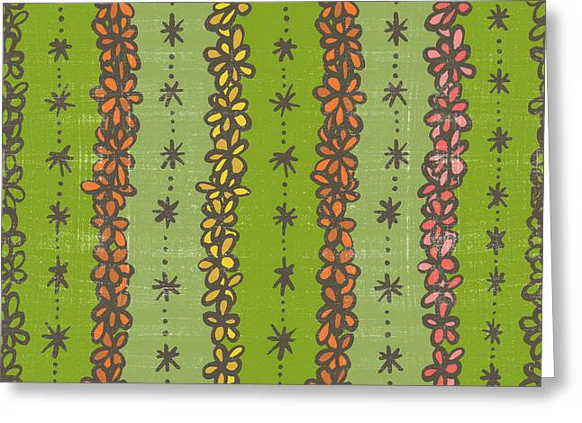 Floral Stripes Pattern Greeting Card