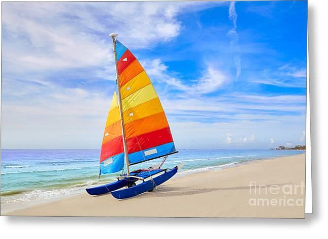 Florida Fort Myers Beach Catamaran Greeting Card