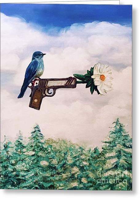Flower In A Gun- Bluebird Of Happiness Greeting Card