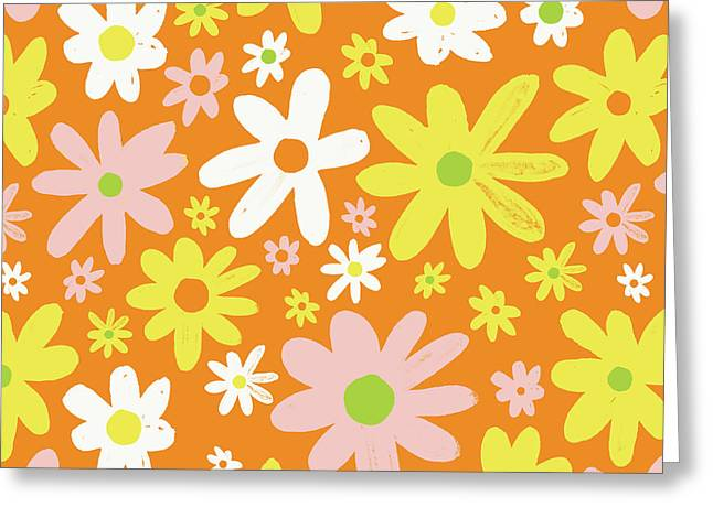 Flower Power Pattern Greeting Card