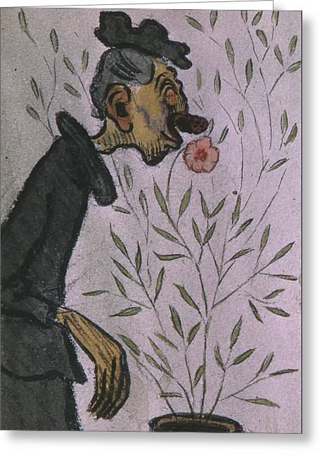 Greeting Card featuring the drawing Flower Sniffer  by Ivar Arosenius