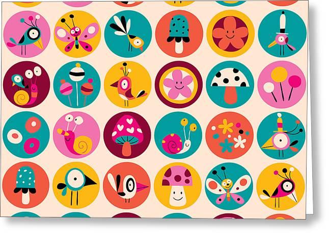 Flowers, Birds, Mushrooms & Snails Greeting Card
