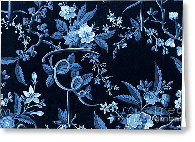 Flowers On Dark Background, Textile Design Greeting Card