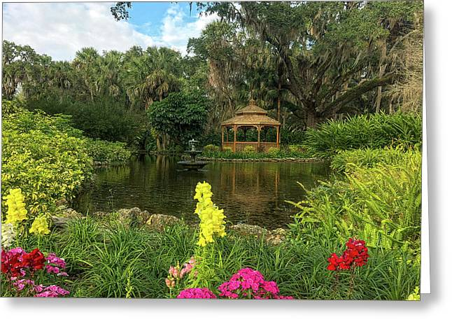 Flowers To Gazebo By The Lake Greeting Card
