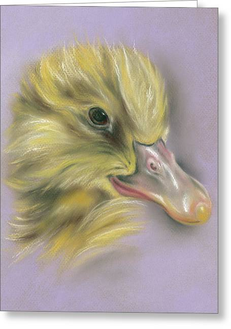 Greeting Card featuring the pastel Fluffy Duckling Portrait by MM Anderson