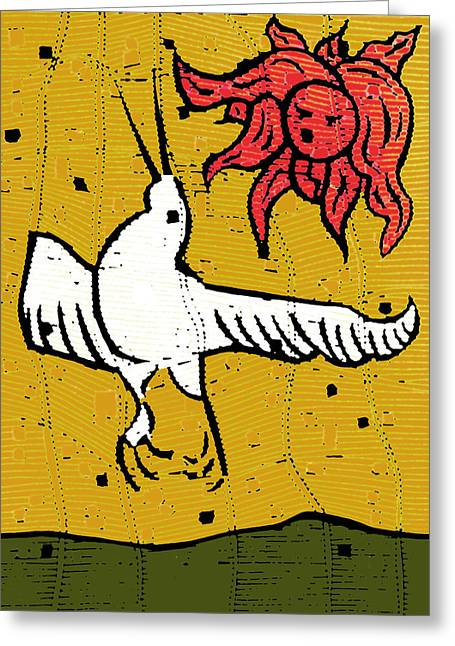 Flying Bird And Red Sun Face Greeting Card