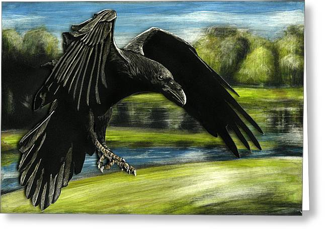 Flying Crow Greeting Card