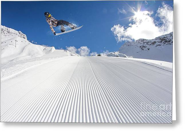 Flying Snowboarder On Mountains Greeting Card