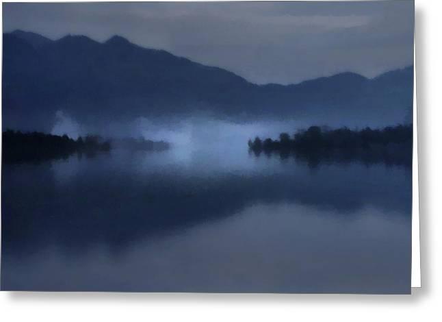 Fog On The Dark Mountain Lake Greeting Card