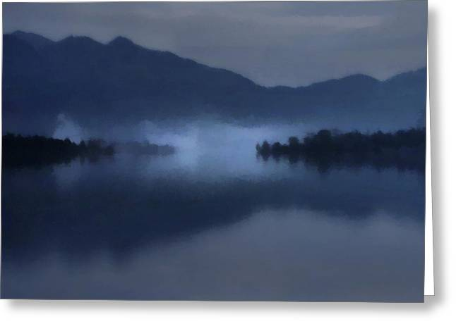 Fog On The Dark Mountain Lake Greeting Card
