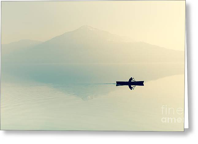Fog Over The Lake. Silhouette Of Greeting Card