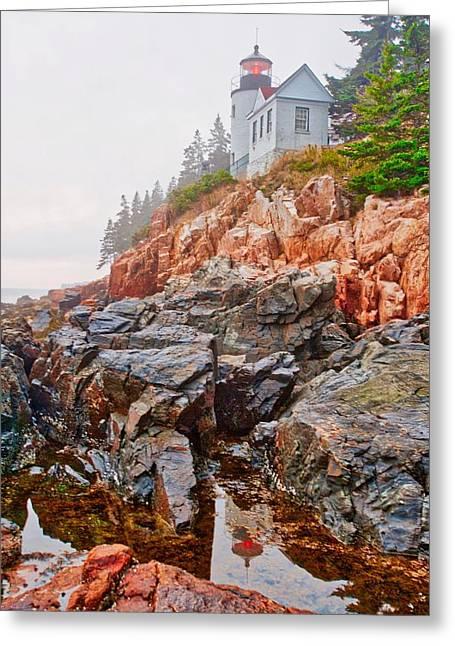 Foggy Bass Harbor Lighthouse Greeting Card