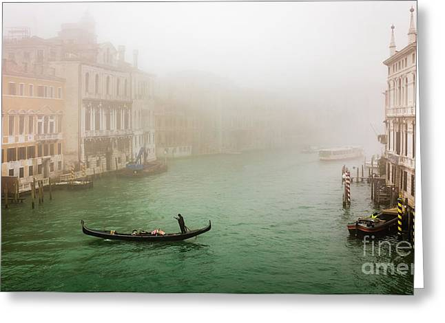 Foggy Morning On The Grand Canale, Venezia, Italy Greeting Card