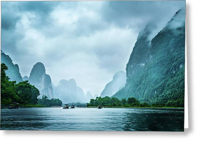 Greeting Card featuring the digital art Foggy Morning On The Li River  by Kevin McClish